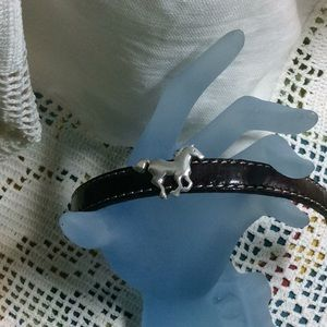 Jewelry - Dark Brown Leather with Sterling Horse Bracelet